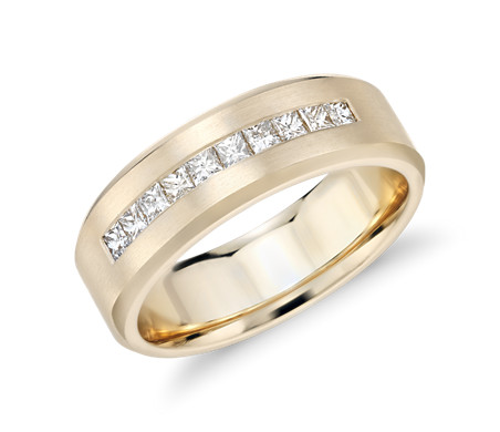 Princess Cut Channel Set Diamond Wedding Ring In 14k Yellow Gold (1/