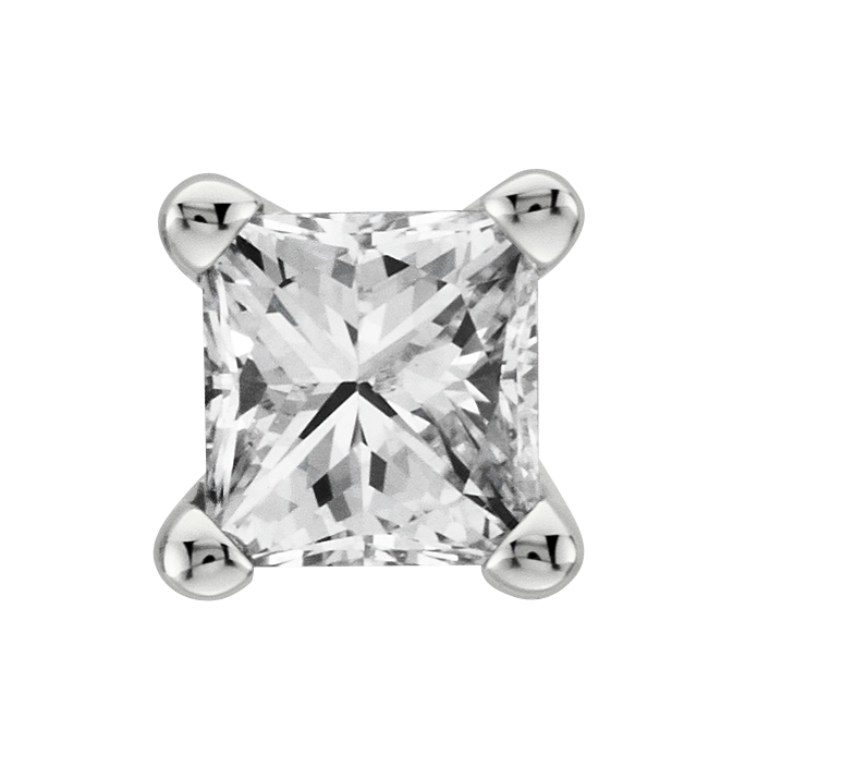 Aretes con diamante de talla princesa en oro blanco de 18 k (1/3 qt. total)