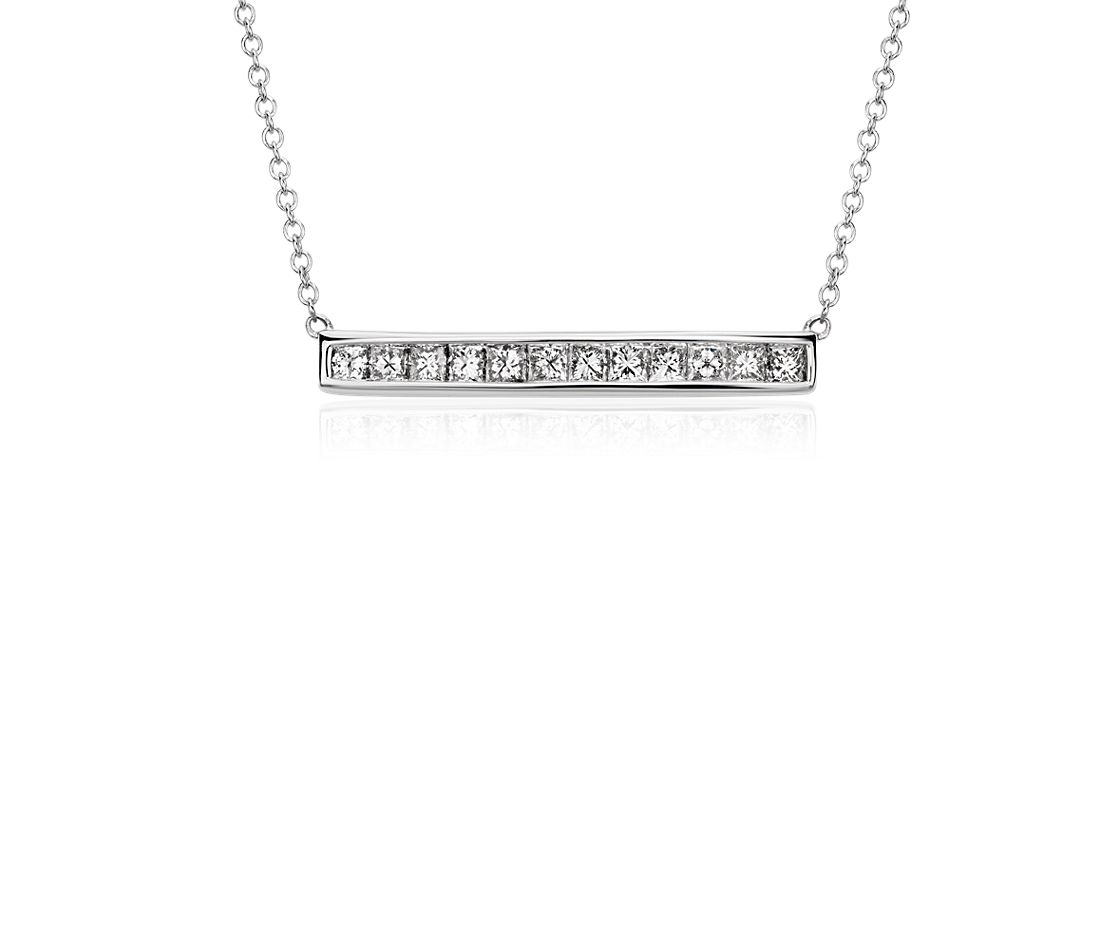 Princess Cut Diamond Bar Necklace In 18k White Gold 3 4 Ct