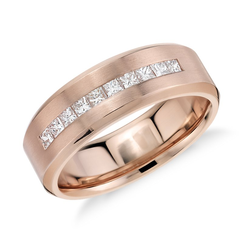 Princess-Cut Channel-Set Diamond Wedding Ring in 14k Rose Gold (1
