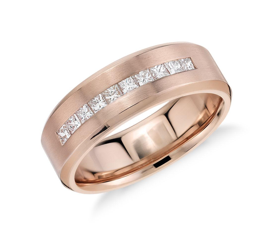Princess-Cut Channel-Set Diamond Wedding Ring in 14k Rose Gold (1/2 ct. tw.)