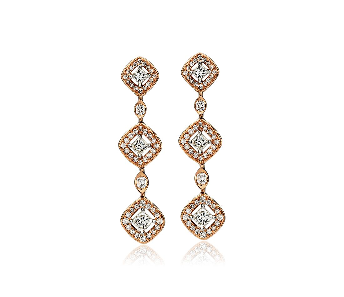 Princess-Cut Diamond Halo Drop Earrings in 14k Rose Gold (1 1/3 ct. tw.)