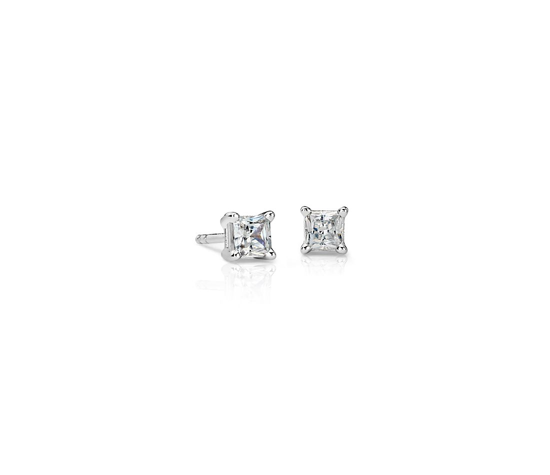 14k White Gold Four-Claw Princess Diamond Stud Earrings (0.46 ct. tw.)