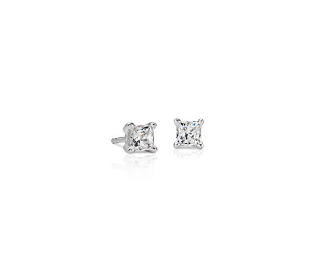Blue Nile Diamond Princess Stud Earrings in 18k White Gold (3/8 ct. tw.) - F / VS
