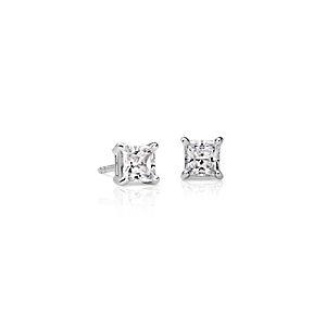 Puces d'oreille diamant princesse quatre griffes en or blanc 18carats (1carat, poids total)