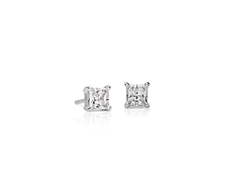 14k White Gold Four Claw Princess Diamond Stud Earrings 1 Ct Tw