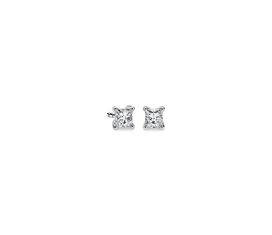 14k White Gold Four-Claw Princess Diamond Stud Earrings (0.30 ct. tw.)