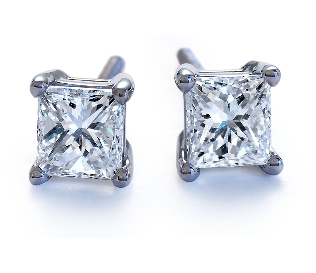 Princess-Cut Diamond Earrings in Platinum (1/2 ct. tw.)