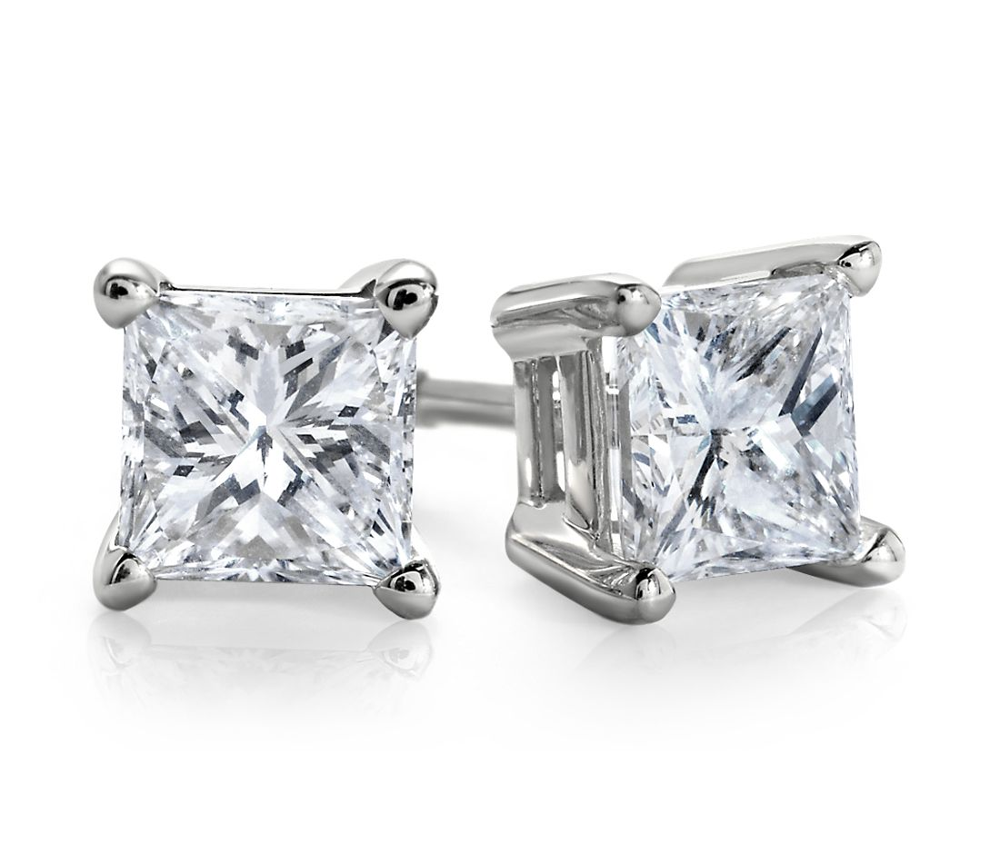 Princess-Cut Diamond Stud Earrings in 18k White Gold (1/2 ct. tw.)