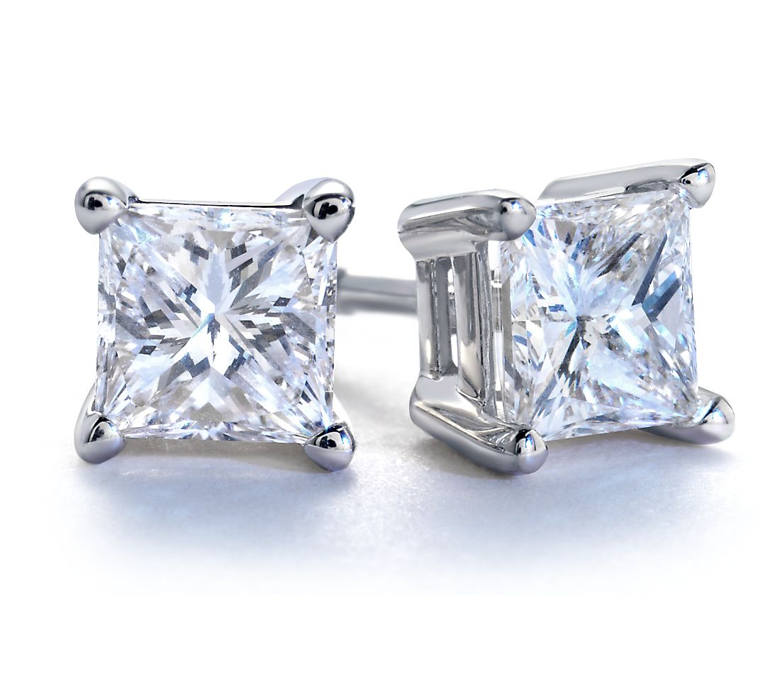 Princess Cut Diamond Stud Earrings In 18k White Gold 1 Ct