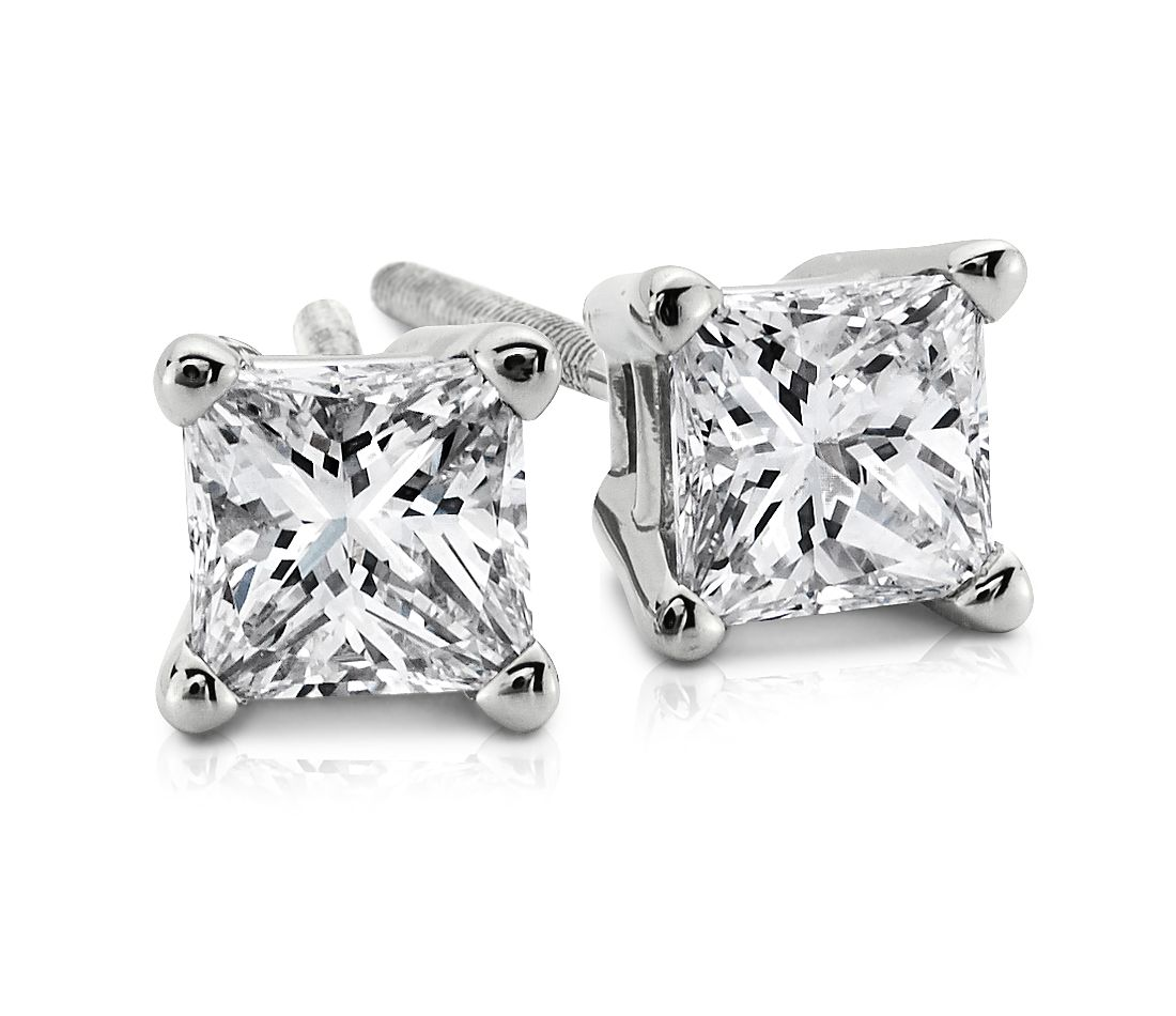 Princess-Cut Diamond Stud Earrings in 18k White Gold (1/4 ct. tw.)