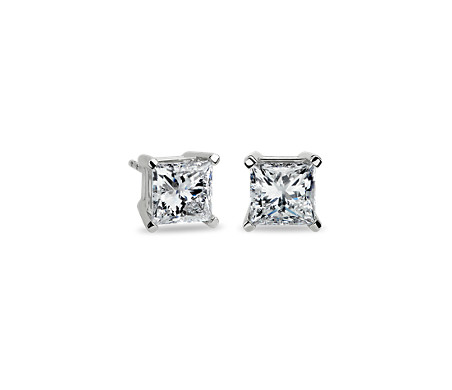 14k 白金公主方形钻石耳环<br>(4 克拉总重量)
