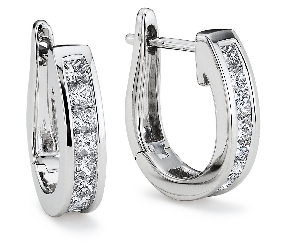 Channel-Set Princess-Cut Hoop Diamond Earrings in 18k White Gold
