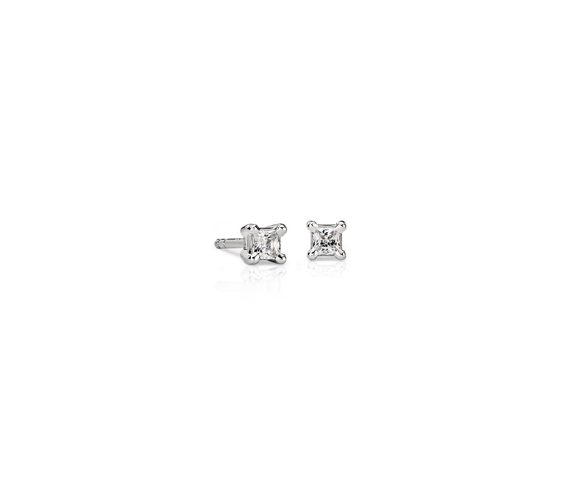Platinum Four-Claw Princess Diamond Stud Earrings (1/4 ct. tw.)