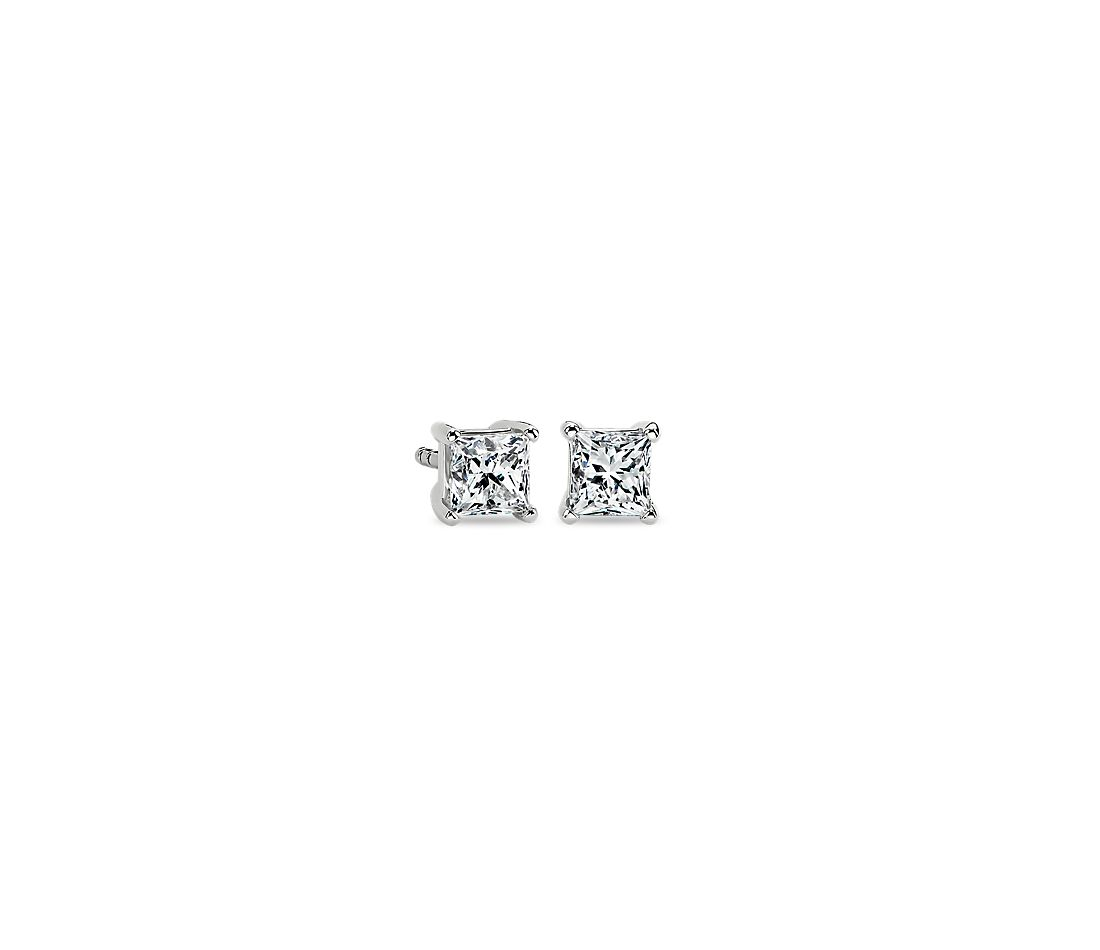 Platinum Four-Claw Princess Diamond Stud Earrings (0.7 ct. tw.)