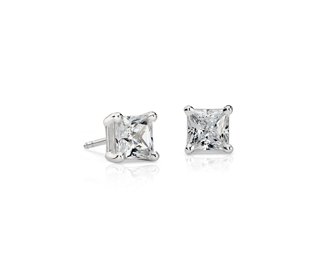 Princess Cut Diamond Stud Earrings In Platinum 2 Ct Tw