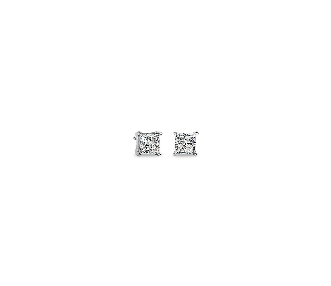 Princess Cut Diamond Stud Earrings In Platinum 3 Ct Tw