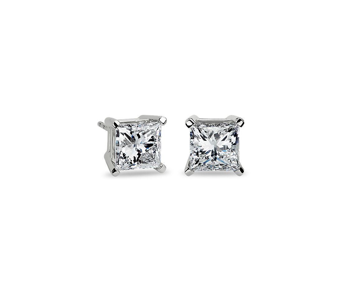 Princess Cut Diamond Stud Earrings In Platinum 4 Ct Tw