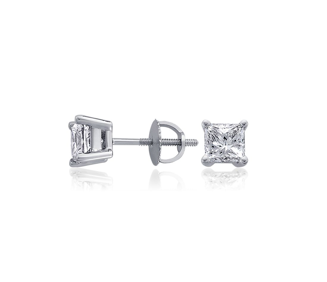 Princess-Cut Diamond Stud Earrings in Platinum (1 1/2 ct. tw.)