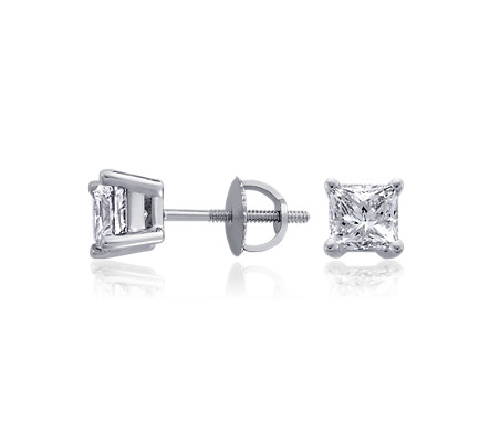 Princess-Cut Diamond Earrings in Platinum (2 ct. tw.)