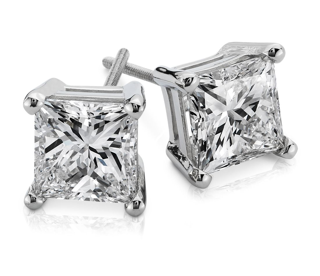 Princess Cut Diamond Earrings In Platinum 3 Ct Tw