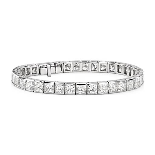 Princess Cut Channel Set Diamond Tennis Bracelet In