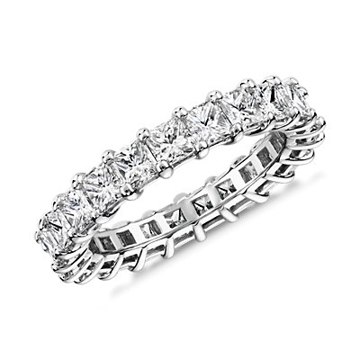 鉑金公主方形鑽石永恆戒指(3.0 克拉總重量)