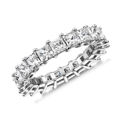 新款铂金公主方形钻石永恒戒指<br>(4.0 克拉总重量)