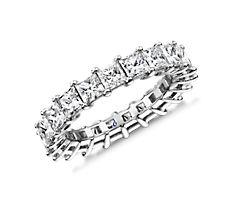 鉑金公主方形鑽石永恆戒指(4.0 克拉總重量)