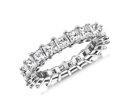 鉑金 公主方形鑽石永恆戒指<br>(4.0 克拉總重量)