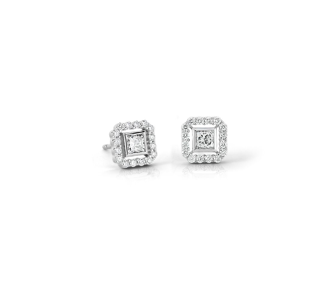 Princess Cut Diamond Floating Halo Earrings In 18k White Gold 1 2 Ct