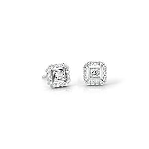 NEW Princess-Cut Diamond Floating Halo Earrings in 18k White Gold (1/2 ct. tw.) (Limited Edition)