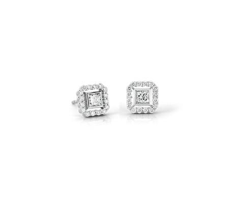 Princess Cut Diamond Floating Halo Earrings In 18k White Gold 1 2 Ct