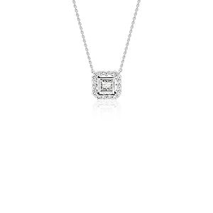NEW Princess-Cut Diamond Floating Halo Necklace in 18k White Gold