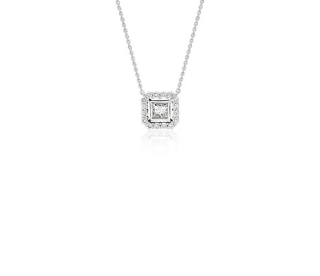 Princess cut diamond floating halo necklace in 18k white gold 14 princess cut diamond floating halo necklace in 18k white gold 14 ct tw limited edition aloadofball Choice Image