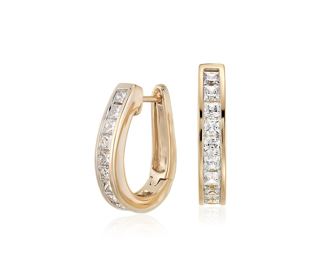 Princess Cut Hoop Diamond Earrings In 14k Yellow Gold 1 5 Ct Tw