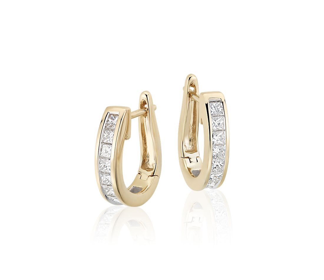 Princess Cut Hoop Diamond Earrings In 18k Yellow Gold 1 Ct Tw
