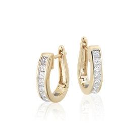 Boucles d'oreilles diamant taille princesse en or jaune 18carats (1carat, poids total)