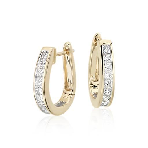 princesscut hoop diamond earrings in 18k yellow gold 1 1