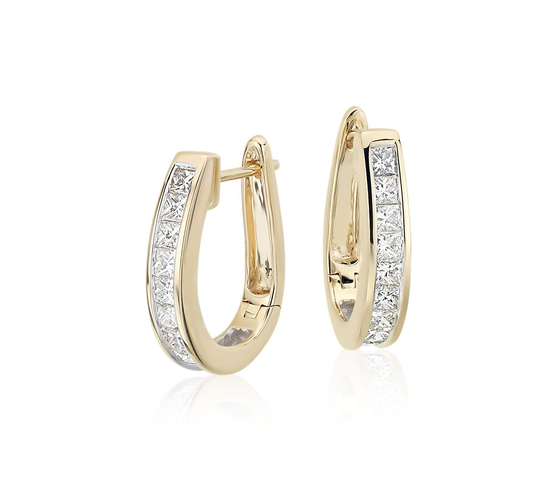 Princess Cut Hoop Diamond Earrings In 18k Yellow Gold 1 2 Ct Tw