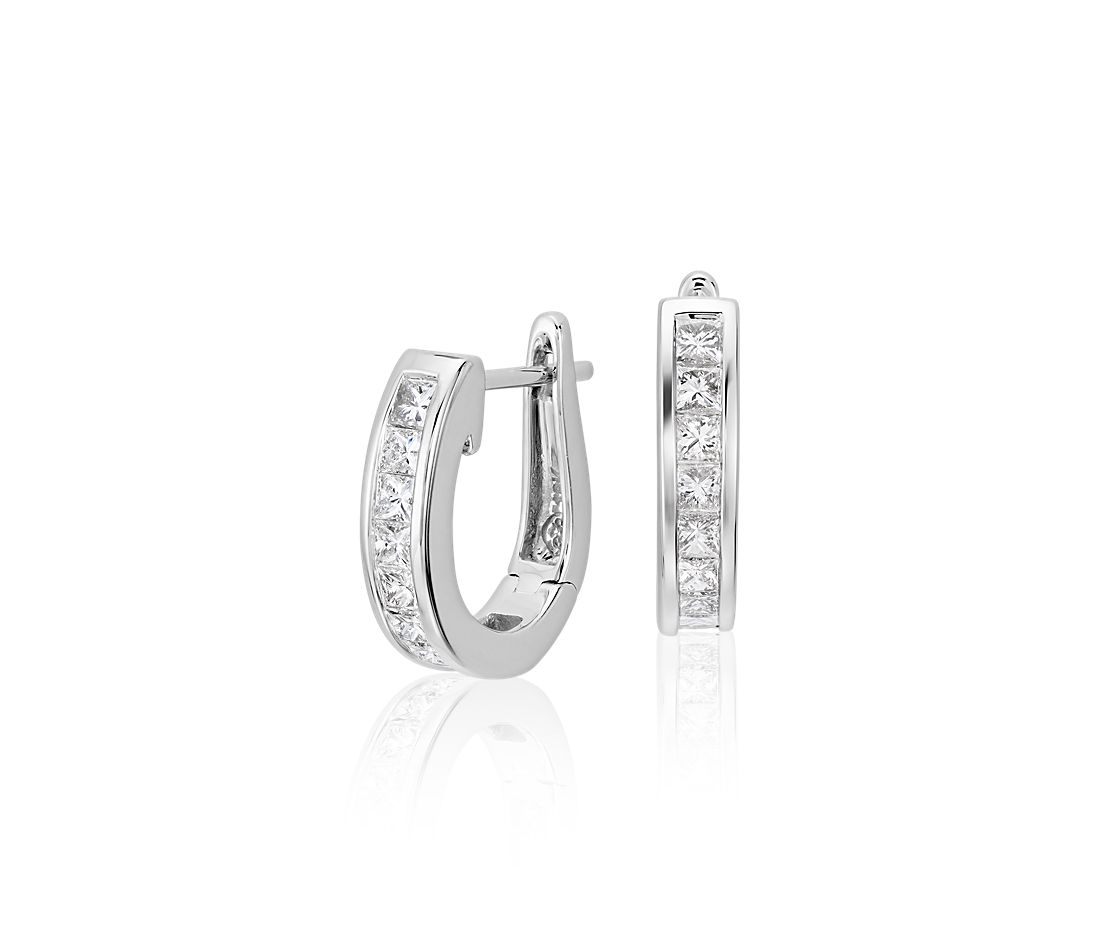 Princess Cut Hoop Diamond Earrings In 18k White Gold 1 Ct Tw