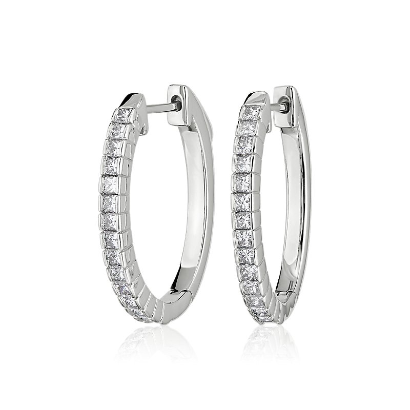 Princess-Cut Diamond Hoop Earrings in 14k White Gold (1 1/4 ct. t