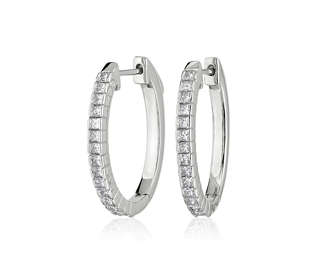 Princess-Cut Diamond Hoop Earrings in 14k White Gold (1 1/4 ct. tw.)