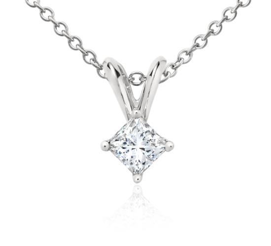 Princess-Cut Diamond Pendant in Platinum (1/4 ct. tw.)