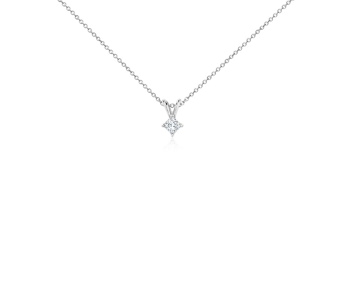 18k White Gold Four-Claw Princess Diamond Pendant (1/4 ct. tw.)