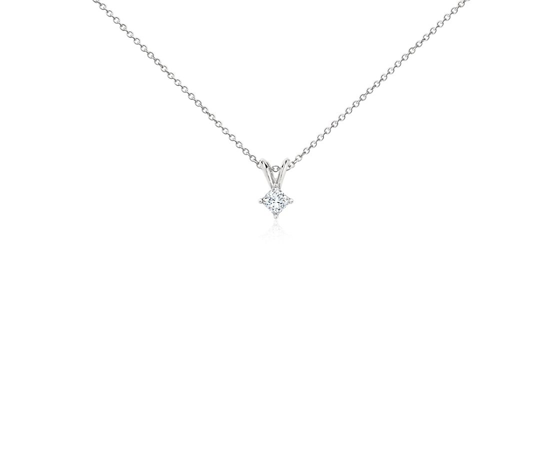 Platinum Four-Claw Princess Diamond Pendant (1/4 ct. tw.)