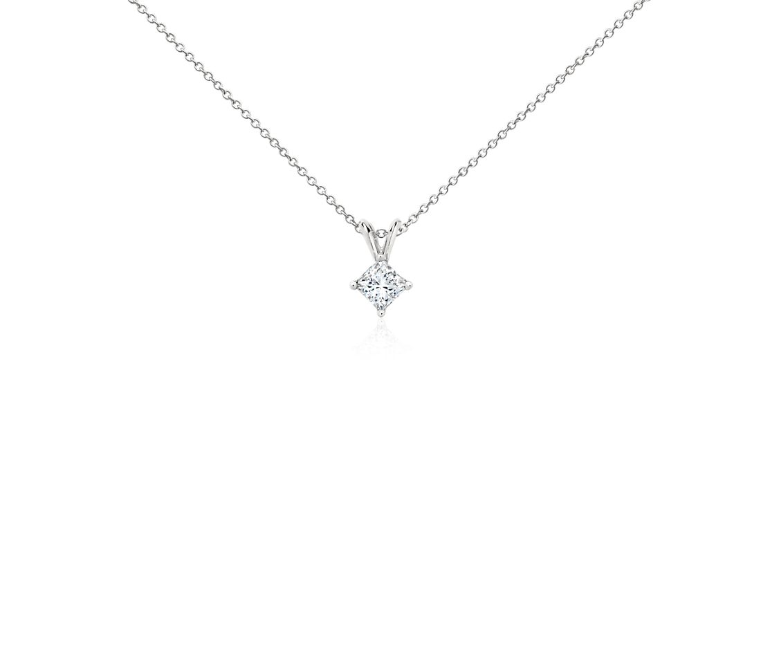 Platinum Four-Claw Princess Diamond Pendant (0.50 ct. tw.)