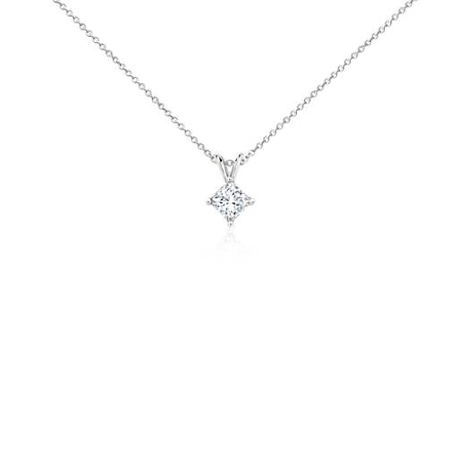 pendant with ir set princess diamond halo cut chain