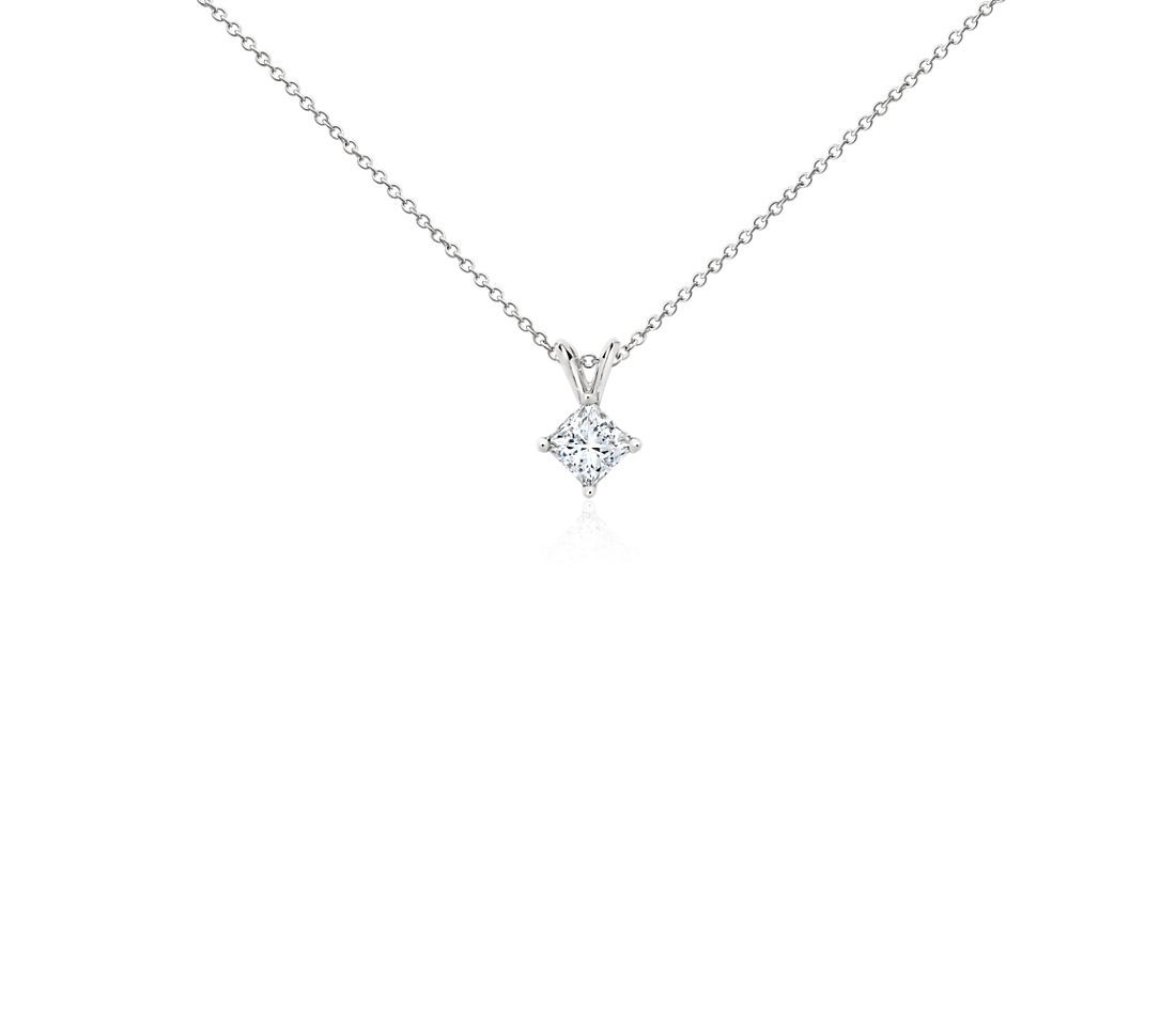 Platinum Four-Claw Princess Diamond Pendant (0.75 ct. tw.)