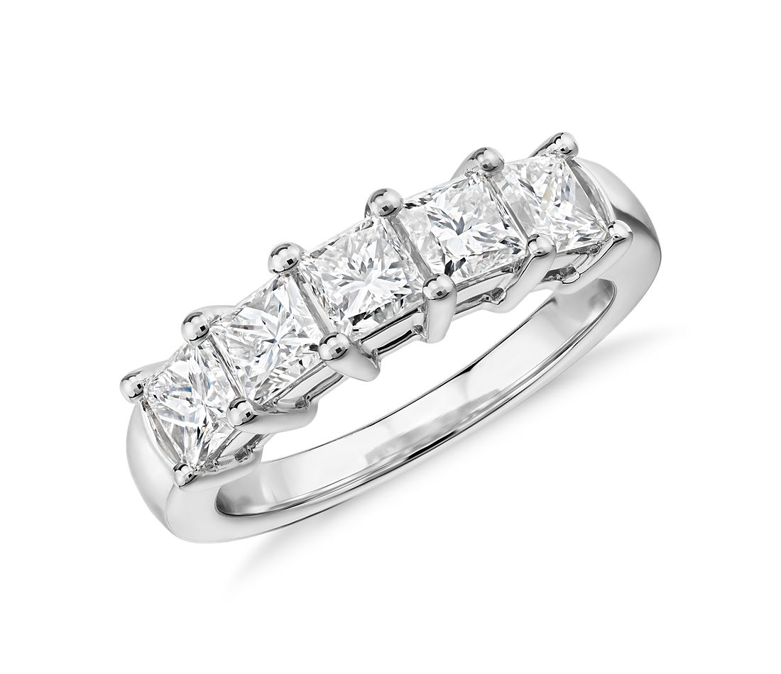 Five Stone Princess Cut Diamond Ring in 18k White Gold 2 ct tw